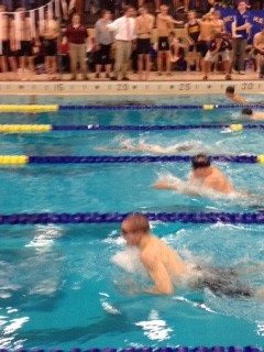 Alan Katrenya grabs second place on the breaststroke during Boys Swimming NVL's